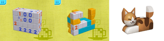 Du bloc de cubes jusqu'au chat, il n'y a que quelques déductions.