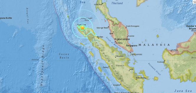 Localisation du séisme qui a frappé l'Indonésie, le 7 décembre.