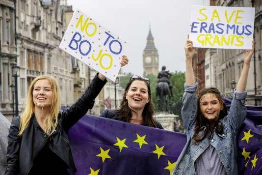 Une manifestationen faveur duprogramme Erasmusà Londres, le 28 juin, cinq jours après le vote de sortie de l'Union européenne.