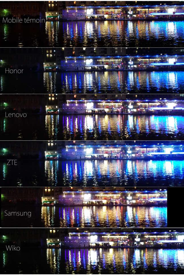 Les photos prises de nuit avec les téléphones.