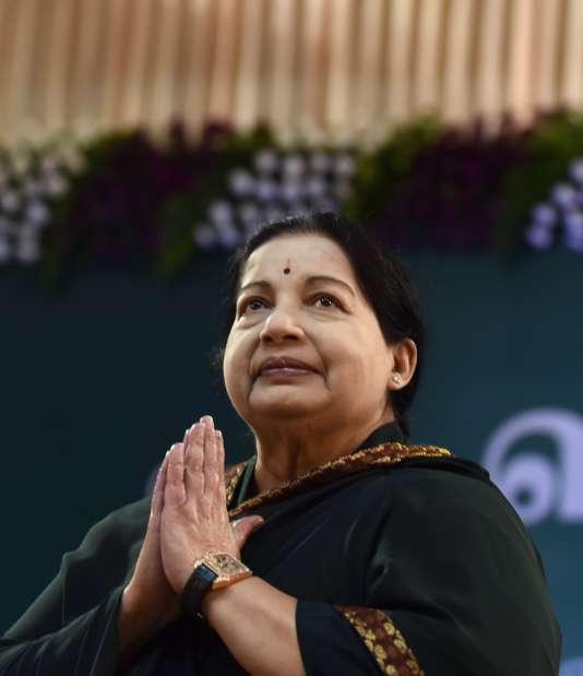 Jayalalithaa, le 23 mai à Madras (Tamil Nadu).