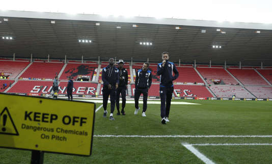 L'attaquant de Leicester (3e à gauche) et ses coéquipiers avant le match contre Sunderland, au Stadium of Light, le 3 décembre.