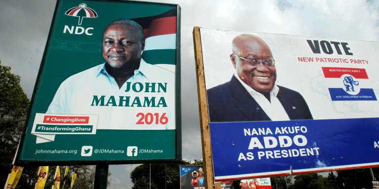 Les deux principaux candidats à la présidentielle ghanéenne, le 7 décembre 2016 : le président sortant John Mahama (NDC) et son opposant historique Nana Addo (NPP).