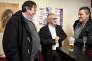 David Moureau, Christian Pommiet et Jacky Louasil au restaurant Le Painlevé de Janzé (Ille-et-Villaine) le 2 décembre.