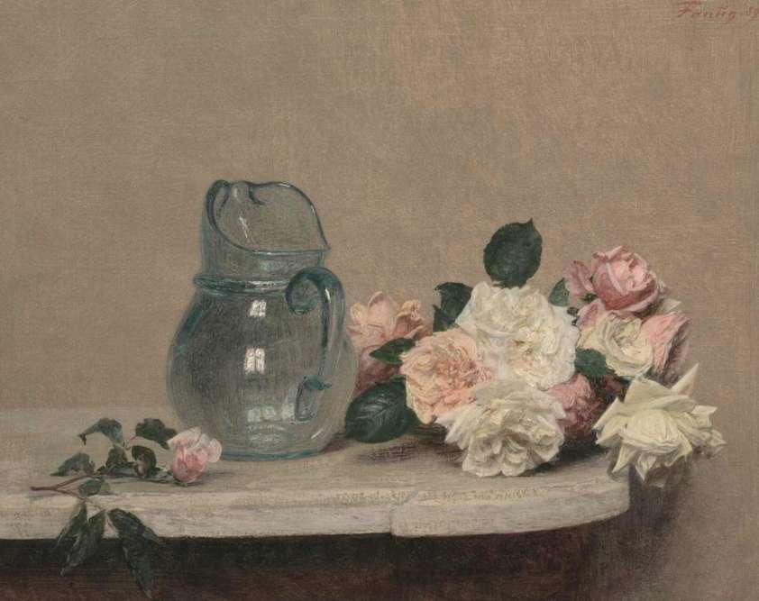 Fasciné par les possibilités expressives qu'offre la matière picturale, Henri Fantin-Latour (1836-1904) a su développer un sens aigu de l'observation, un goût pour les compositions équilibrées et cadrées, et pour l'intensité psychologique de ses modèles. A travers plus de cent vingt œuvres, cette exposition rend également compte des liens étroits entre poésie, rêve et réalisme. Légende : «Roses», 1889, huile sur toile.