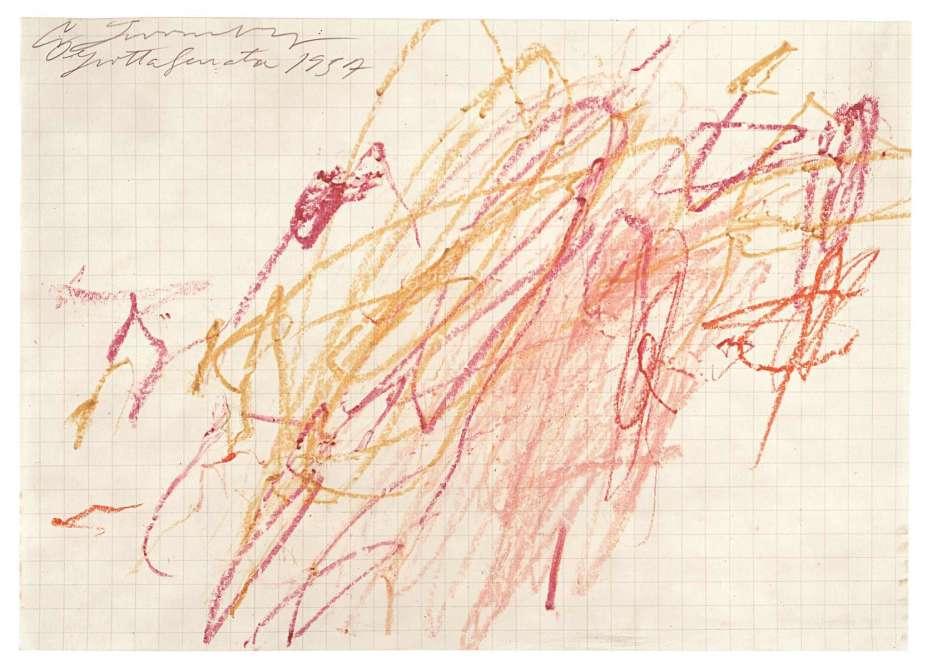 Une rétrospective rassemblant cent quarante toiles, sculptures, dessins et photographies est consacrée, à Paris, à l'œuvre de l'artiste américain (1928-2011). Elle retrace soixante ans de carrière en suivant un ordre chronologique. Légende : «Sans titre» (Grottaferrata), 1957, crayon à la cire et mine de plomb sur papier quadrillé, 7dessins : 21,6 x 29,9 cm (chaque), collection particulière.