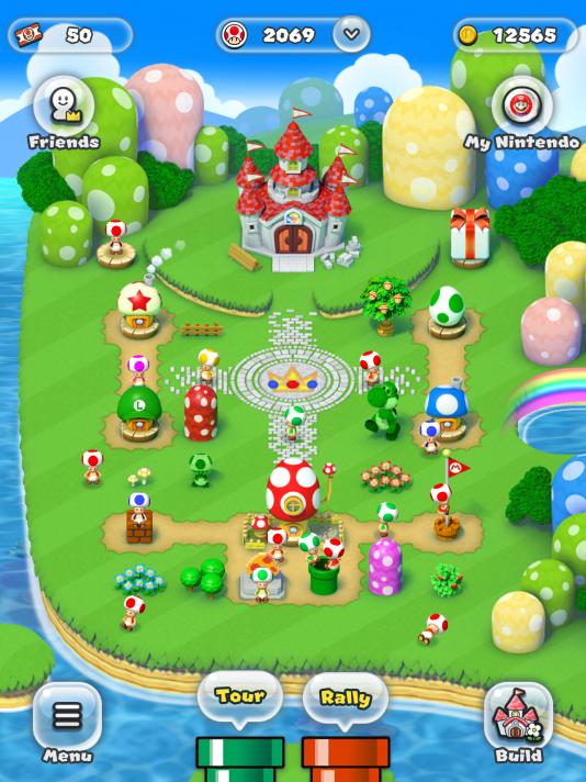 Dans le mode « Editeur de royaume », le joueur peut dépenser ses pièces pour reconstruire un village champignon.