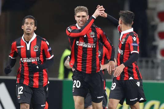 Maxime Le Marchand, après son but face à Krasnodar, jeudi 8 décembre en Ligue Europa.