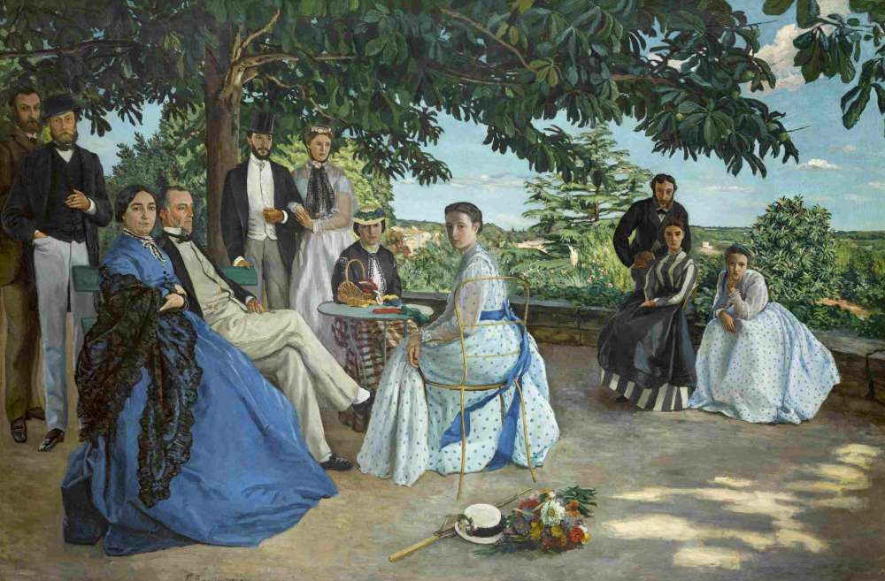 Né dans une famille de notables protestants de Montpellier, Frédéric Bazille est mort au combat, en 1870, lors de la guerre franco-prussienne, à l'âge de 28 ans. Il laisse derrière lui une œuvre intimiste, fortement influencée par son ami Claude Monet, dans laquelle s'affirment déjà son style et ses sujets de prédilection (la famille, ses proches, la nature et le « motif»). Légende : «La Réunion de famille», 1867, huile sur toile.