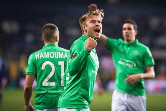 Alexander Söderlund, après son but avec les Verts à Anderlecht, jeudi 8 décembre.