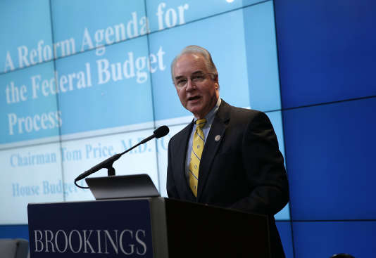 Tom Price lors d'une intervention devant le think tank Brookings Institution le 30 novembre à Washington.