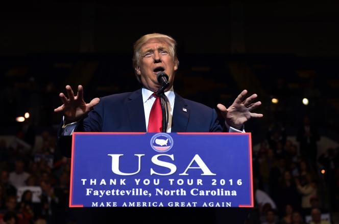 Donald Trump, lors d'un meeting à Fayetteville, en Caroline du Nord, le 6 décembre.