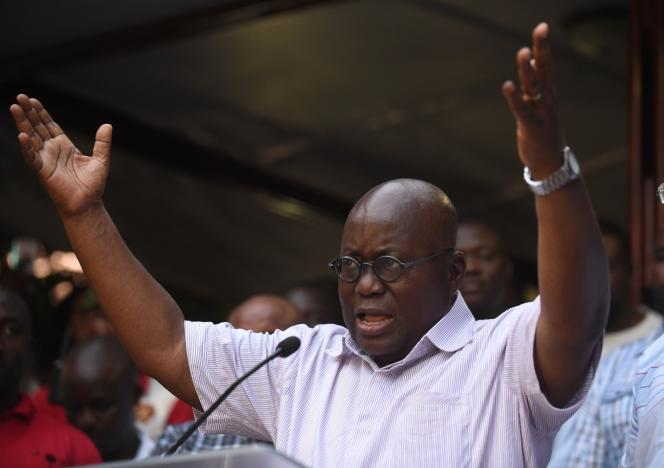 Le candidat du parti d'opposition (Nouveau Parti patriotique), Nana Akufo-Addo, s'est déclaré vainqueur avant l'annonce des résultats officiels, àAccra, jeudi8décembre.