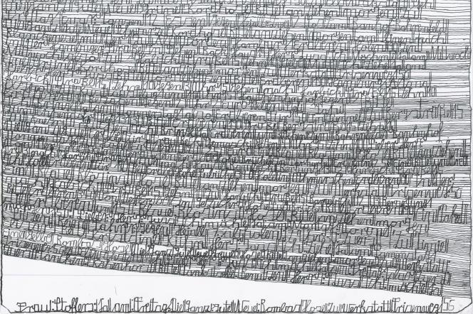 Une oeuvre sans titre de Harald Stoffers (encre noire sur papier).