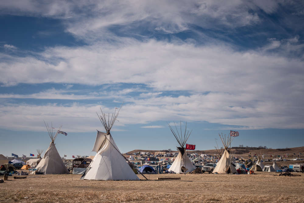Le camp d'Oceti Sakowin. Leterritoire de Standing Rock a été cédé à la Nation Sioux par le traité de Fort Laramie en 1851.