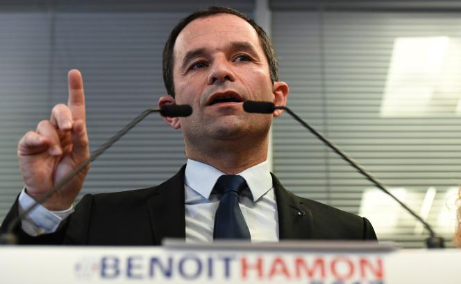 Benoît Hamon, candidat PS à la primaire à gauche, le 9 décembre 2016, à Paris.