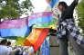 Un manifestant pour le mariage pour tous au cours d'un rassemblement contre l'union des personnes de même sexe, àTaipei, le 17 novembre.