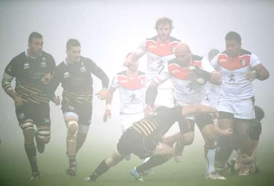 Action lors du match du Stade toulousain contre le Zèbre, à Parme en Italie.