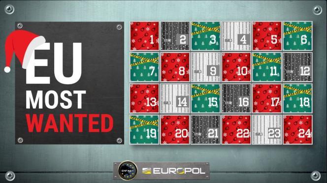 La page d'accueil du calendrier de l'Avent d'Europol.