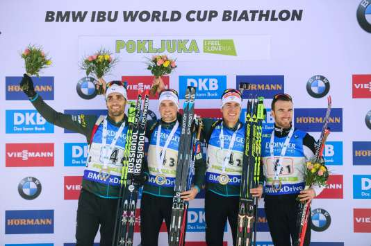 Fourcade, Jean-Guillaume Beatrix, Quentin Fillon-Maillet et Simon Desthieux ont devancé la Russie et l'Allemagne pour s'adjuger la première victoire française sur un relais de Coupe du monde depuis janvier 2014.