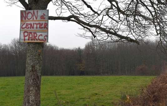 Une pancarte contre le Center Parcs deRoybon, dans la forêt de Chambaran (Isère), le 30 novembre 2014.