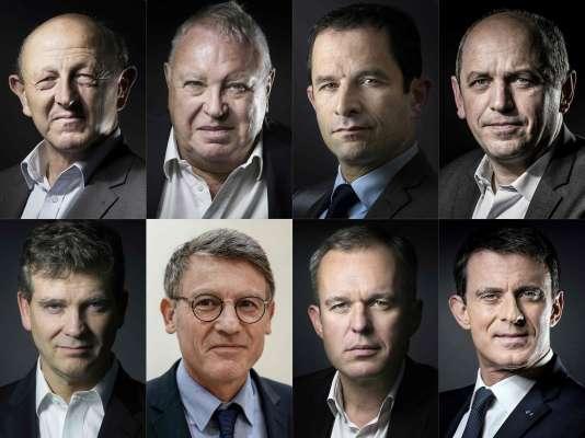 Jean-Luc Bennahmias, Gérard Filoche, Benoît Hamon, Pierre Larrouturou, Arnaud Montebourg, Vincent Peillon, François de Rugy, Manuel Valls.