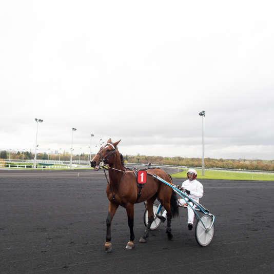 Un« driver» et son cheval à Vincennes.