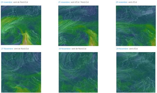Le site Les Econoclastes.fr a noté que les vents venaient majoritairement d'est dans la semaine qui a précédé le début du pic de pollution.