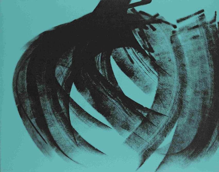 Le peintre Hans Hartung (1904-1989) s'est imposé comme une des figures marquantes d'un art libéré de l'académisme : une peinture abstraite où prime une facture très expressive, du signe au geste. Son œuvre entre en résonance avec celles d'autres artistes : ceux que l'on relie historiquement à «l'abstraction lyrique»– comme Degottex, De Kooning, Hantaï et Cy Twombly. Légende : «T1975-K19», 1975, acrylique sur panneau de bois aggloméré.