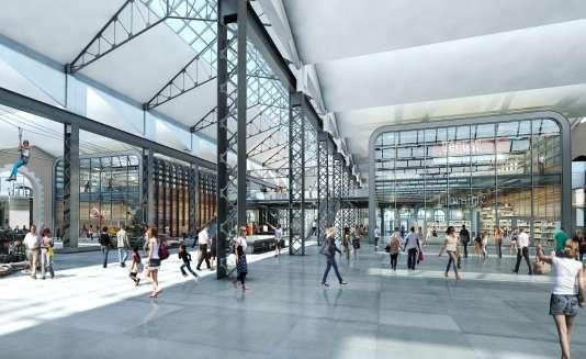 Vue d'artiste du futur quartier des Capucins à Brest. « La nouvelle médiathèque de 9 000 m2, qui ouvrira le 3 janvier 2017, et un cinéma de cinq salles qui verra le jour en face, à la mi-2018».