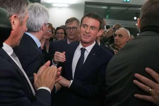 Manuel Valls, le 12 décembre 2016, à Villemoustaussou, dans l'Aude.