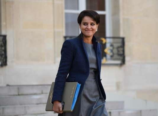 Najat Vallaud-Belkacem à la sortie de l'Elysée le 7 décembre.