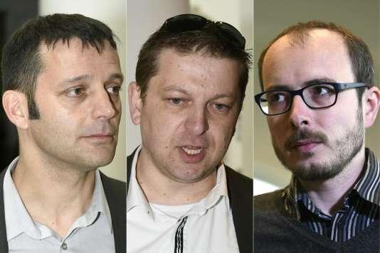 Les lanceurs d'alerte Antoine Deltour (à droite), Raphaël Halet (au centre) et le journaliste Edouard Perrin.