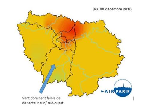 Le panache de pollution aux particules fines le 8 décembre.