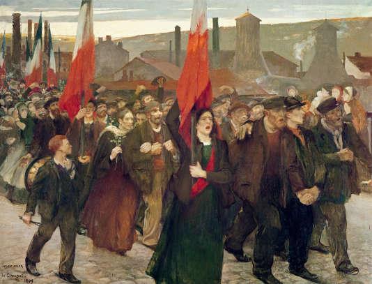 The Strike, 1899 (oil on canvas) - Adler, Jules (1865-1952) - Ecomusée de la Communauté le Creusot Montceau, France