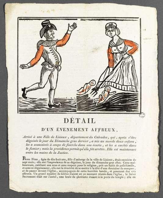 Représentation (détail) d'un double infanticide commis en 1820 en Normandie par une fille d'auberge.