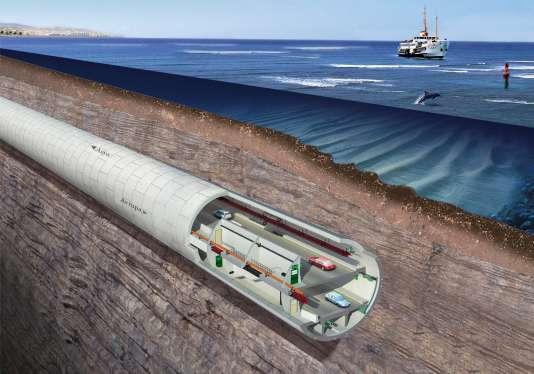 Sur les 5,4 kilomètres du tunnel, 3,4 km sont creusés à 110 mètres de profondeur, sous le Bosphore.