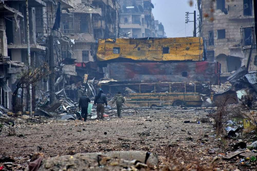 Alep, le 13 décembre 2016. Dans le quartier Bustan Al-Qasr, dans la partie orientale de la ville.