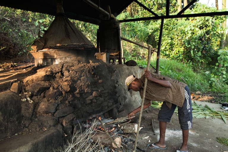 Des distillateurs artisanaux d'huile essentielle de girofle et leur alambic artisanal dans l'est de Madagascar, en novembre 2016.