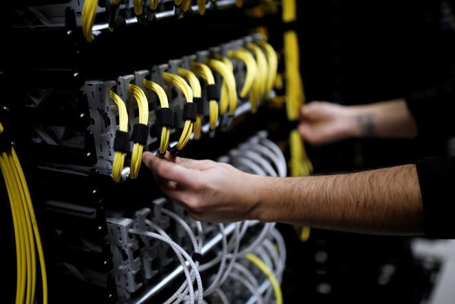 Le serveur de données Equinix à Pantin (Seine-Saint-Denis) le 7 décembre.