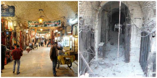 Le souk Al-Madina avant et après la guerre.