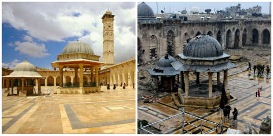 La grande mosquée d'Alep avant et après la guerre.