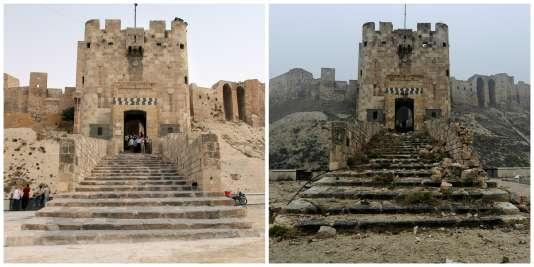 La citadelle d'Alep avant et après la guerre.