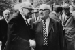 https://commons.wikimedia.org/wiki/Theodor_Ludwig_Wiesengrund_Adorno#/media/File:AdornoHorkheimerHabermasbyJeremyJShapiro2.png  Photograph taken in Heidelberg, April 1964,[1] by Jeremy J. Shapiro at the Max Weber-Soziologentag. Horkheimer is front left, Adorno front right, and Habermas is in the background, right, running his hand through his hair.