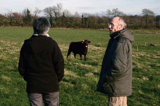 Paul et Nadine Hascoët, dans leur ferme du Menez-Hom à Dinéault (Finistère).