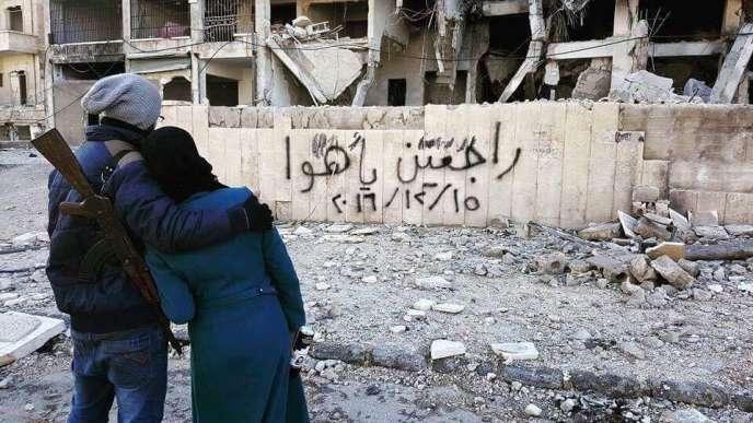 Un couple d'amoureux à Alep.