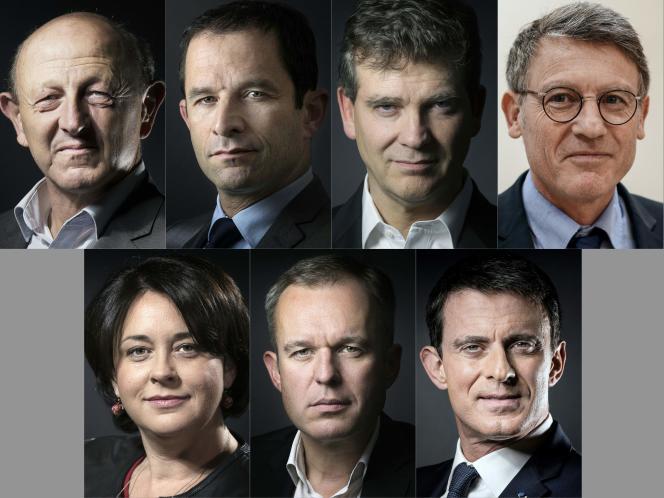 Les sept candidats retenus pour la primaire à gauche.