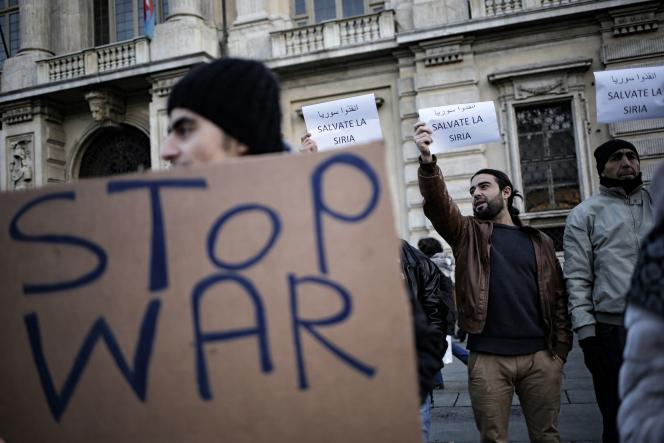 Une manifestation de soutien aux habitants d'Alep, en Italie.