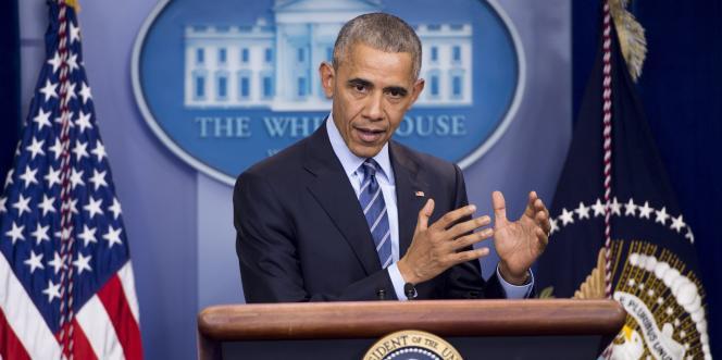 Le président américain Barack Obama tient la dernière conférence de presse de l'année, le 16 décembre 2016, à la Maison Blanche (Washington, DC).