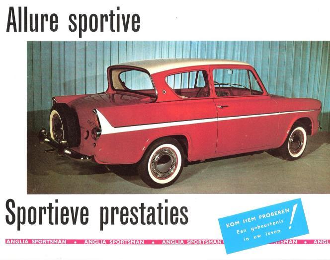 Une publicité pour la version Sportsman de l'Anglia, destinée au marché belge.